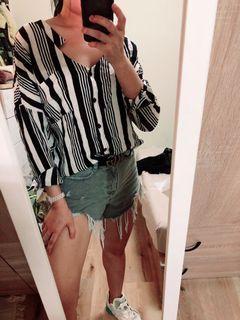 正韓貨韓國製黑白條紋罩衫長袖襯衫休