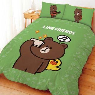 熊大愛自拍   雙人床包組薄被套四件組