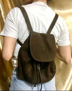Dark brown vintage Backpack Tas Ransel