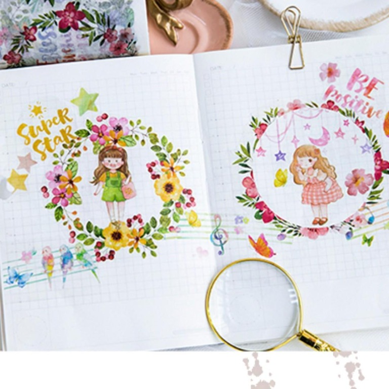 Floral Wreath Calligraphy Quotes Washi Tape Samples Books Stationery Stationery On Carousell