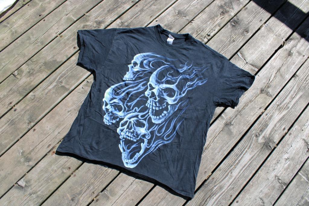 Ghost Rider Skull Flames T Shirt Vintage 90s Print