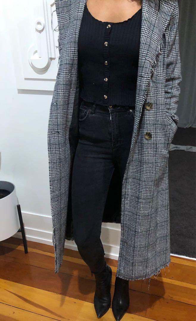Long Check Coat