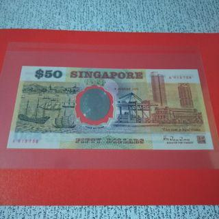 [SOLD] Singapore 1st polymer commemorative $50 dollars note UNC