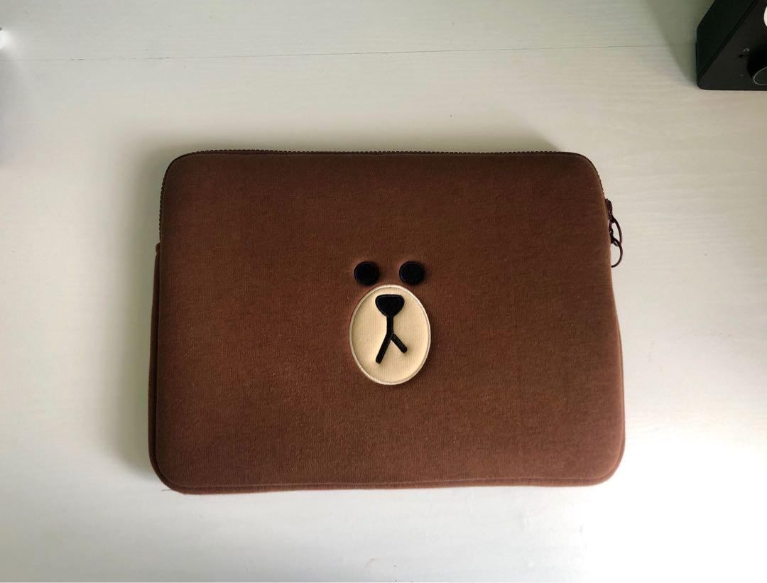 Official Korean LINE FRIENDS 13-inch Laptop Tablet Sleeve Pouch - Brown Bear