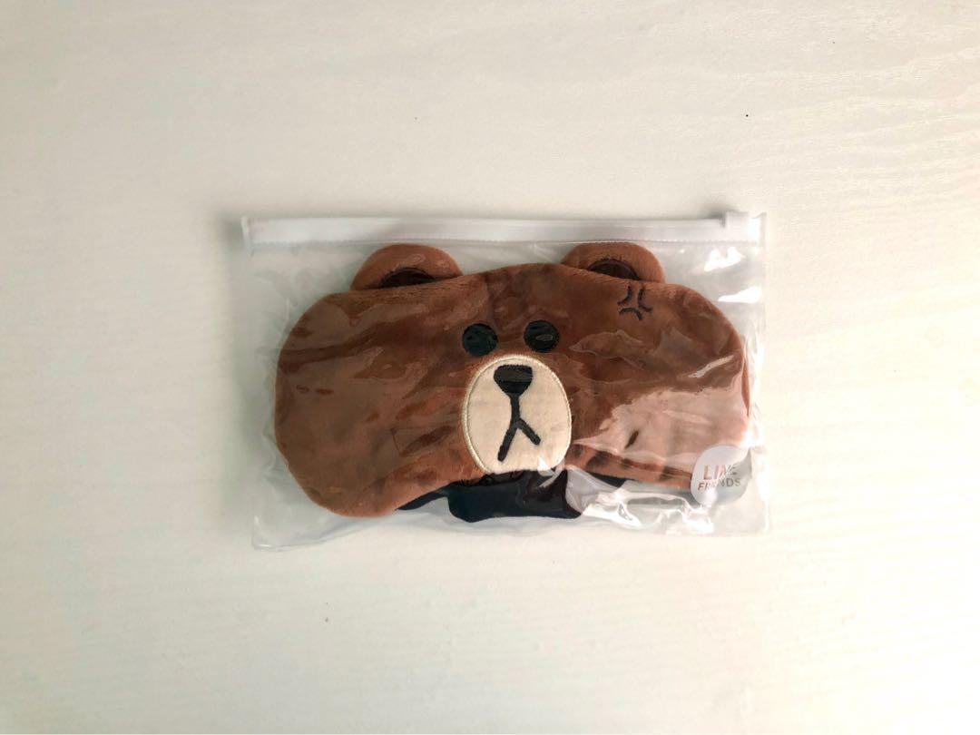 Official Korean LINE FRIENDS Brown Bear Soft Sleep Mask Comfortable Eye Shade Mask