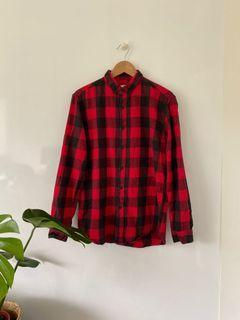 Pull&Bear 男 M 紅黑格子 法蘭絨 襯衫 上衣Pull&Bear male M red and black plaid flannel shirt top #new start