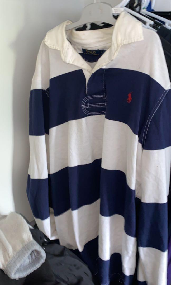 Ralph Lauren blue and white polo shirt