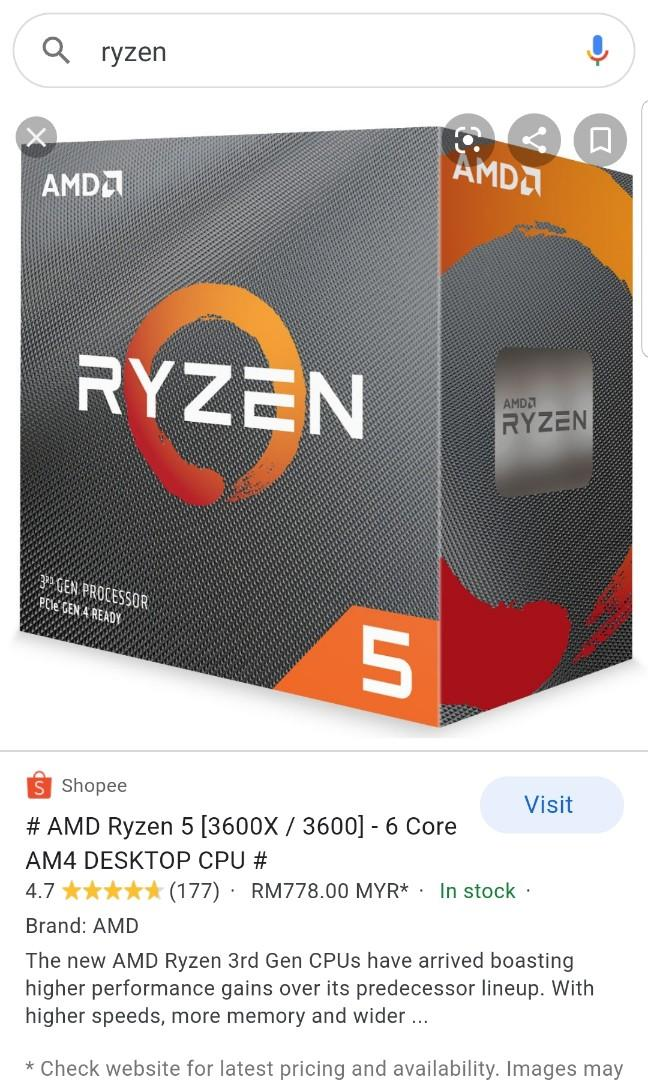 Want To Trade Ryzen 5 3600 With Ryzen 7 3700x I Add Electronics Computer Parts Accessories On Carousell