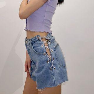 歐美鍊條鏤空牛仔短褲