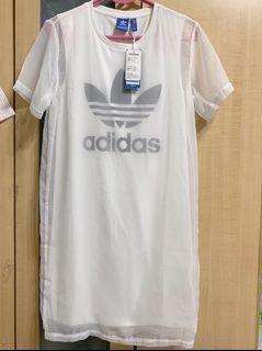 全新Adidas 白色雙層網紗洋裝US:XS 32