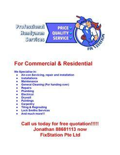 Electrical, plumbing, painting, installation, repair, cleaning, tiling, fan, water heater, drilling, reinstatement, renovation, disposal, ceiling, partition
