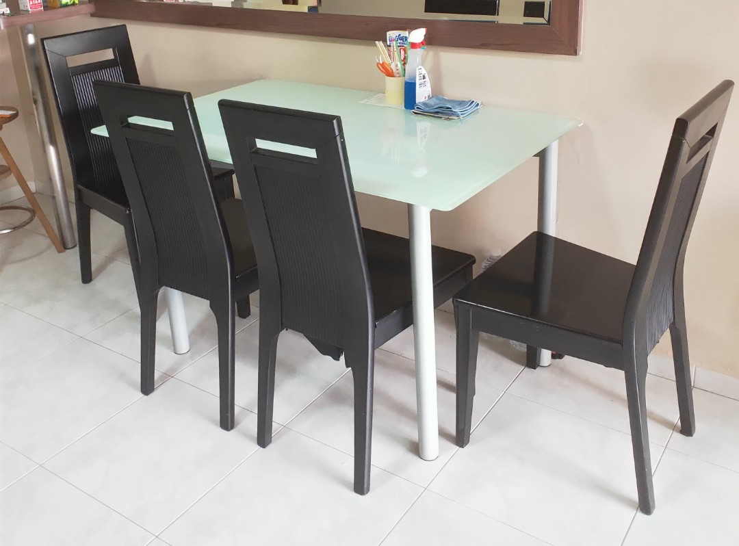 Top Glass Dining Table 4 Chairs Serious To Let Go Furniture Tables Chairs On Carousell