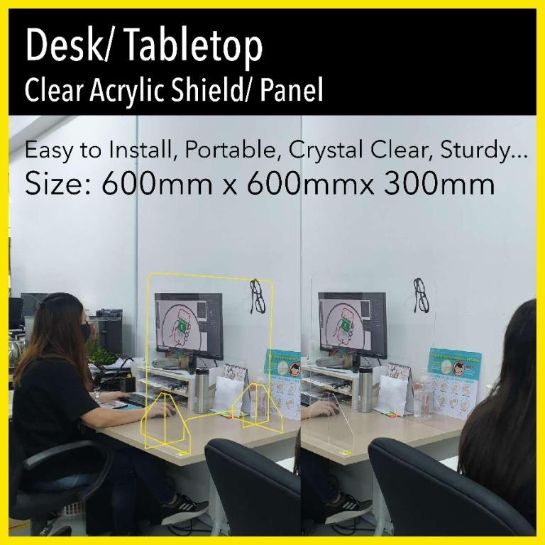 Self Standing Desk Table Top Acrylic Shield Sneeze Guard Partition Panel Covid 19 Social Distancing Divider Furniture Others On Carousell