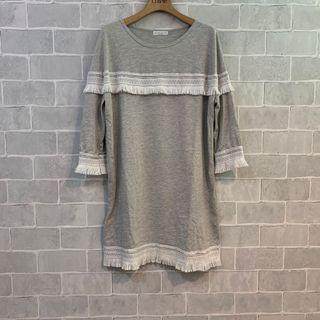 9.9成新流蘇超舒服七分袖長版洋裝