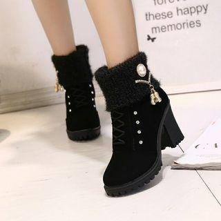 🌹氣質英倫風馬丁靴水鑽吊飾 短靴 女靴 馬靴 黑色38號