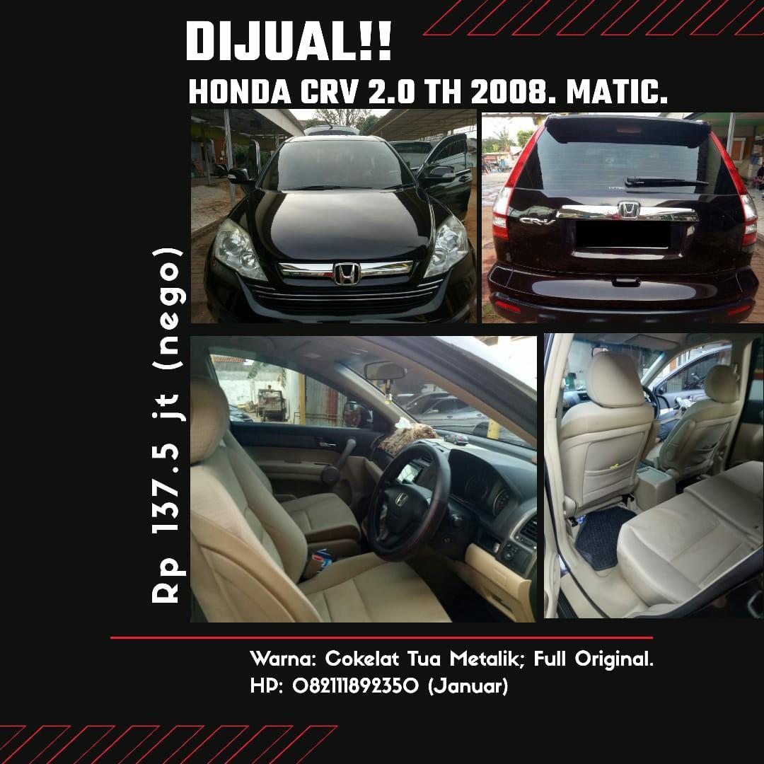 Dijual! Honda CRV 2.0 Th 2008. Matic. Full Original.