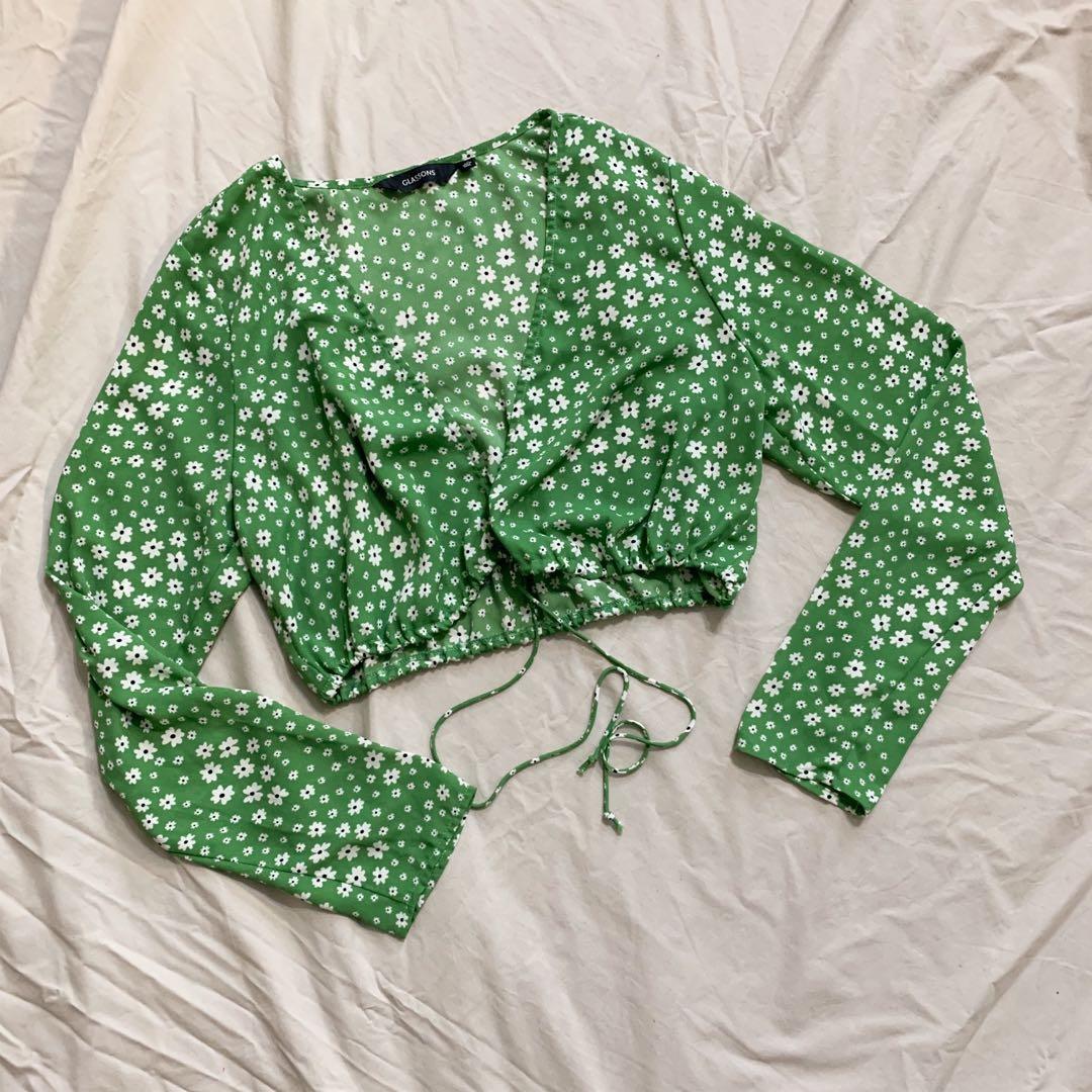 Green tie front top