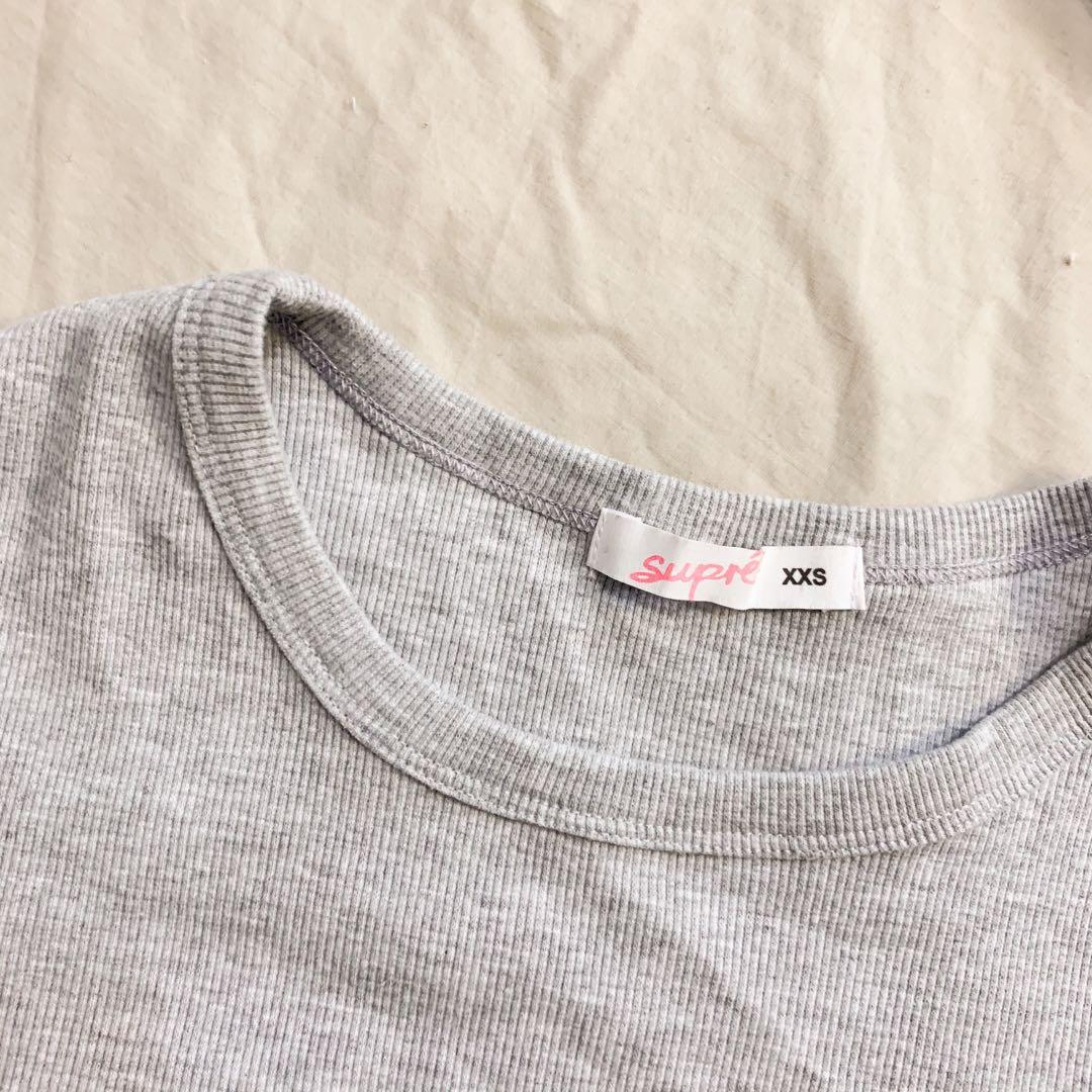 Grey rubbed fitted tee
