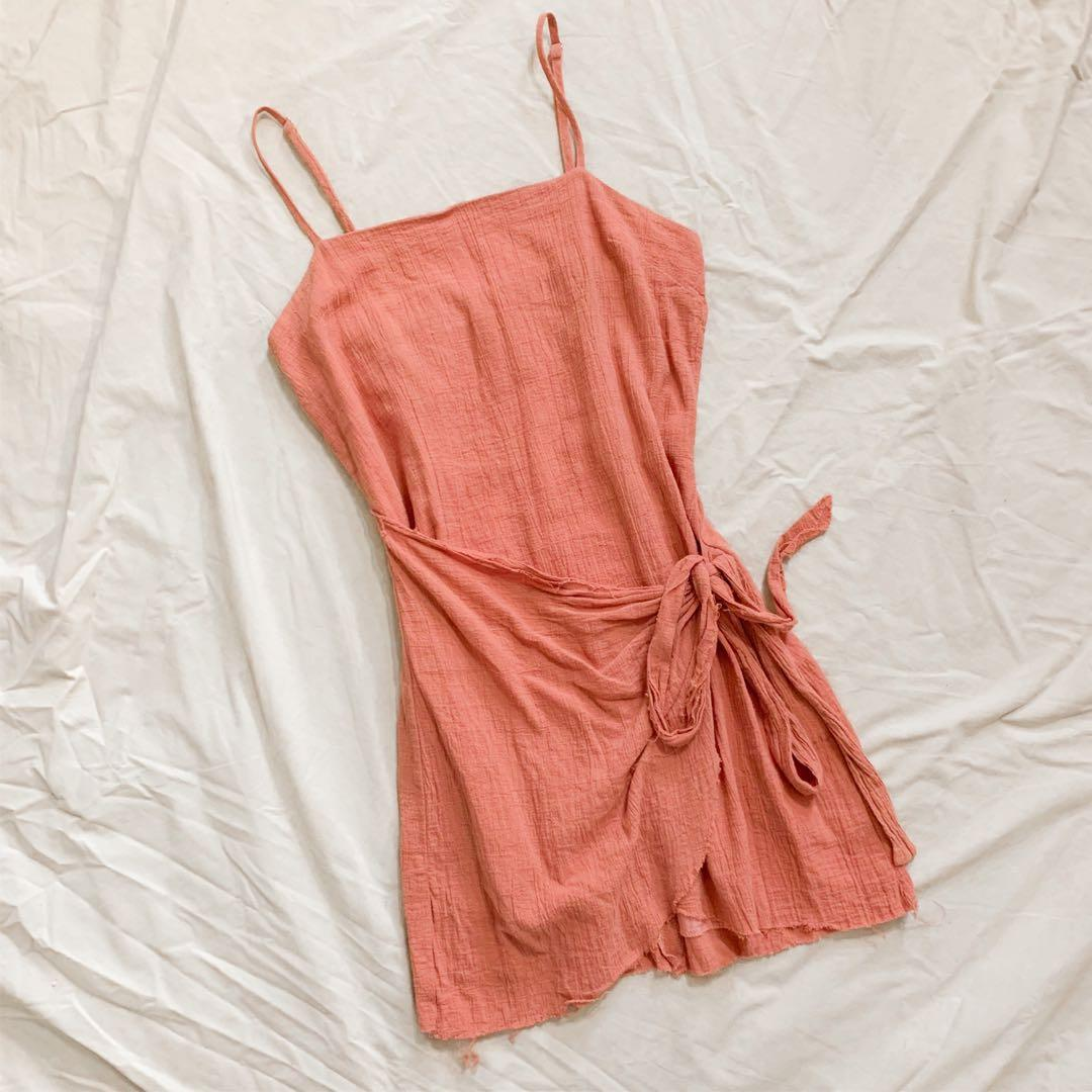 Pink wrap style dress