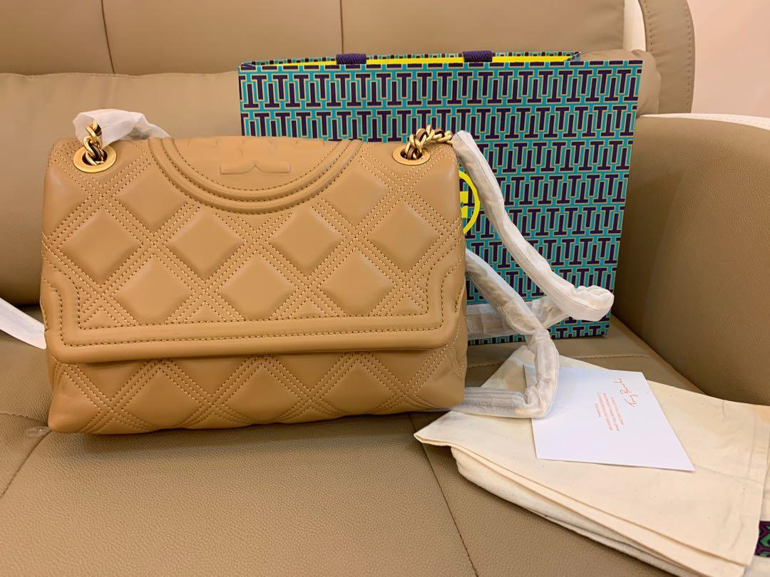Ready Stock authentic Medium Fleming soft box Tory Burch solf Fleming in nude colour
