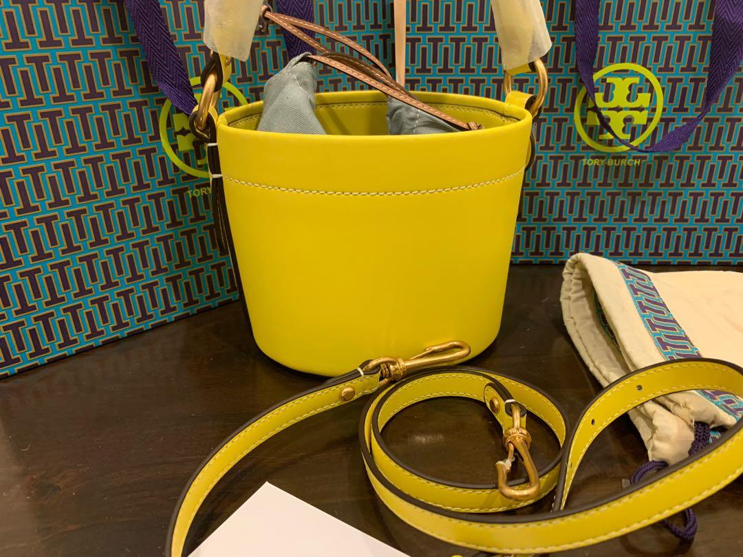 Ready Stock Authentic Tory Burch Miller bucket canteen bag in yellow