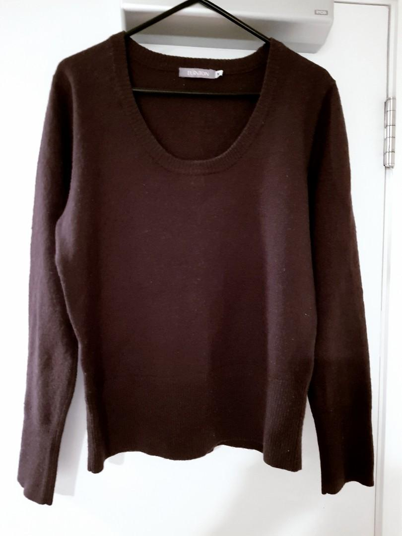 Sz10 warm knitted wool blend sweater chocolate brown $10