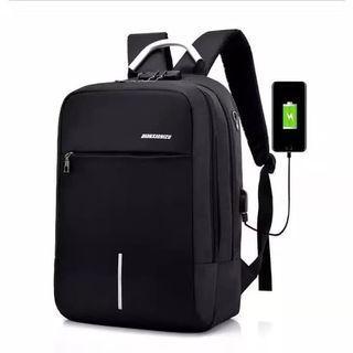 Tas Ransel Pria Tas Ransel Laptop Anti Maling Theft Smart Backpack USB Charger - Hitam
