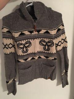 Aritzia TNA zip up knit wool sweater