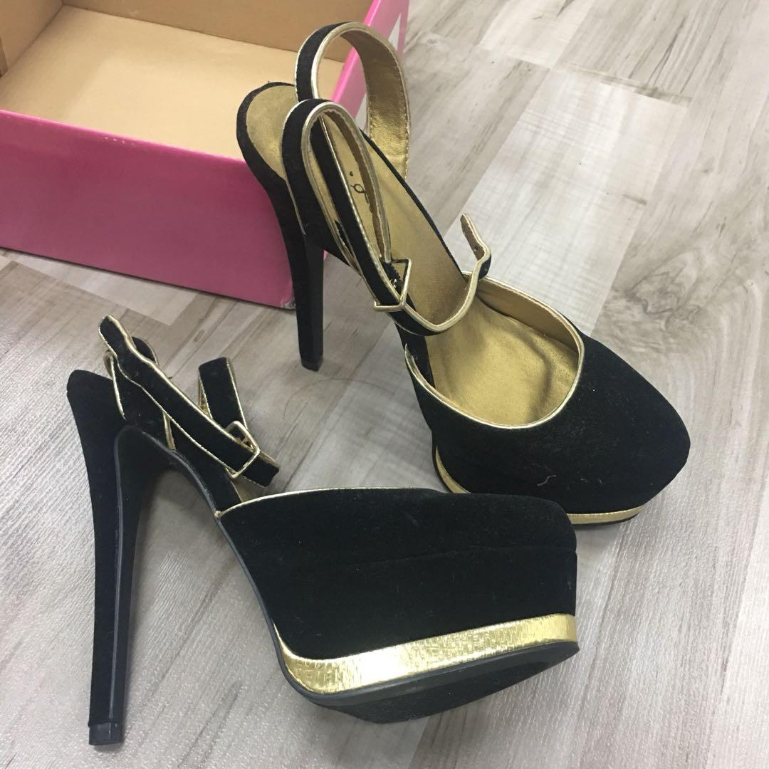 Clearance: black and gold heels, Women