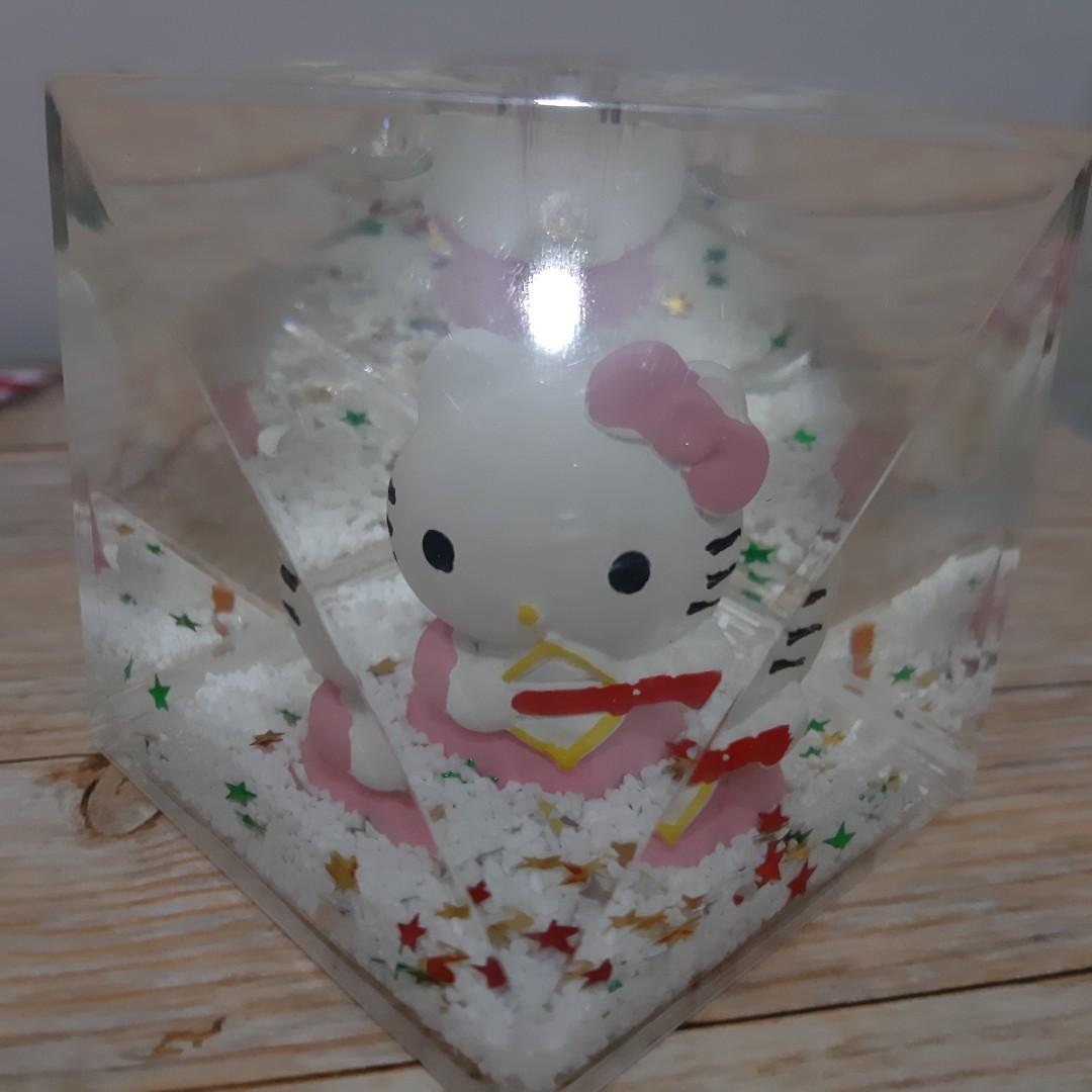 Hiasan meja rectangular crystal hello kitty