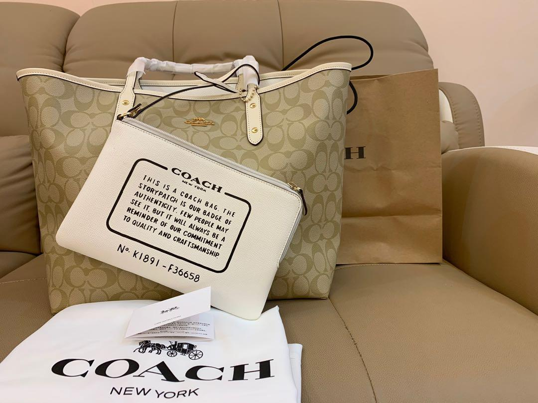 Ready Stock authentic coach 36658 women shoulder totes in canvas material monogram