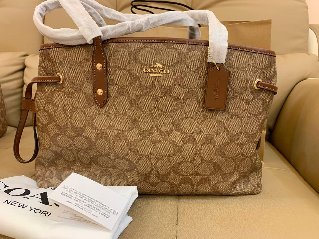 Ready Stock Authentic coach F57842 drawstring carryall one signature canvas women sling bag