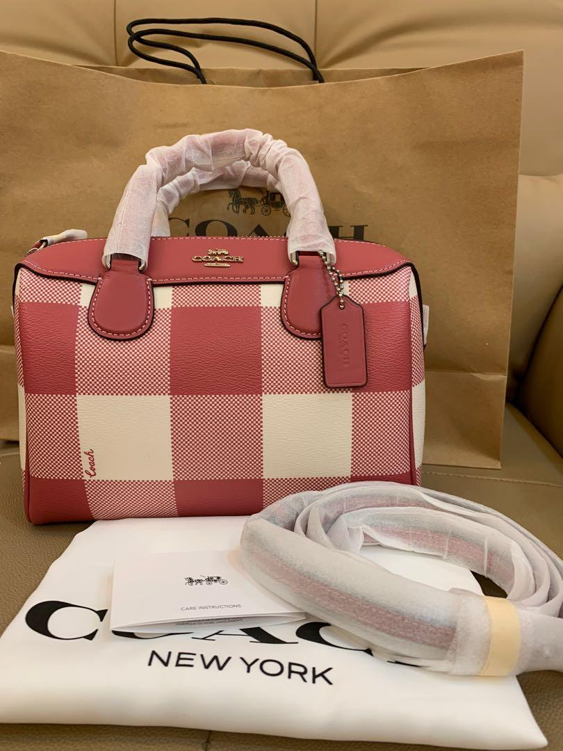 Ready Stock Authentic Tory Burch mini Bennett in buffalo plaid coach print F66930