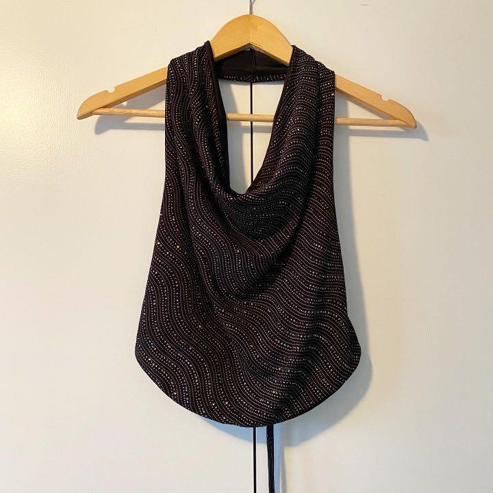 sparkly cowl neck top