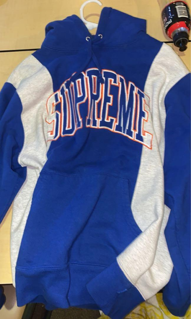 Supreme arc panel blue and white royal hoodie