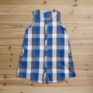 《白木11》 🌴 vintage 藍色 格紋 無袖 無領 圓領 長版 背心 襯衫 上衣 古著