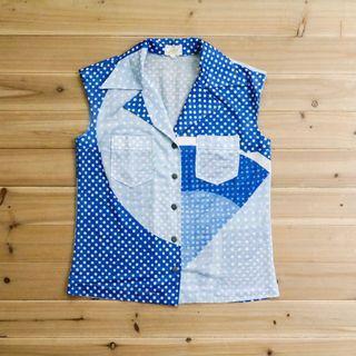 《白木11》 🌴 vintage 藍色 水藍 點點 印花 無袖 劍領 短版 襯衫 背心 日本製 上衣 古著