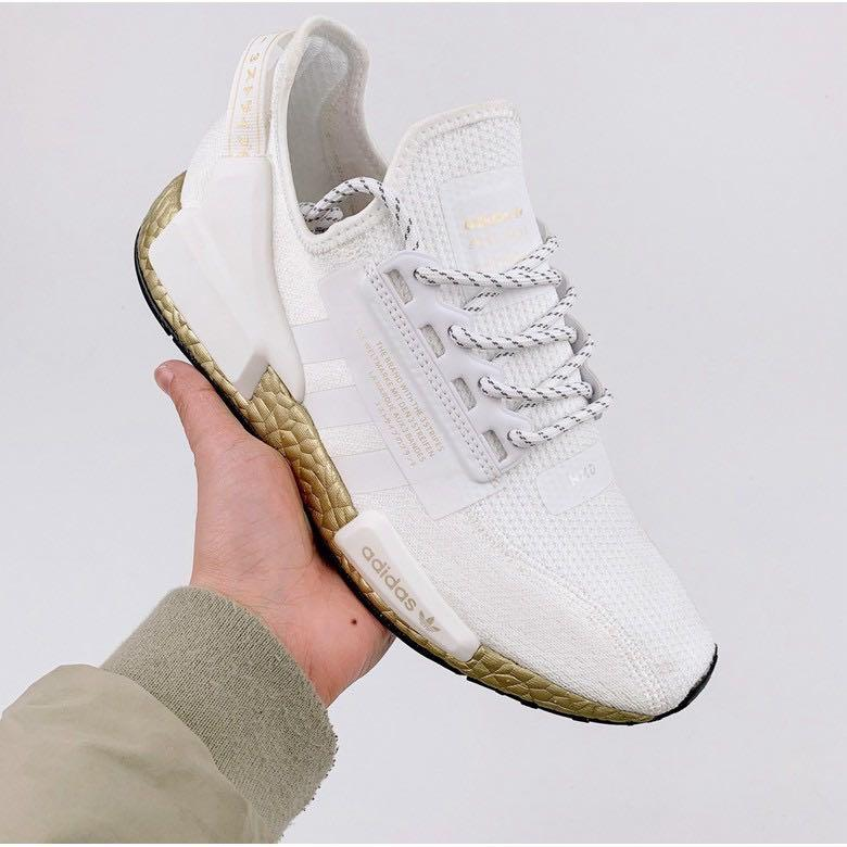 Adidas Nmd R1 V2 White Gold Women S Fashion Shoes Sneakers On