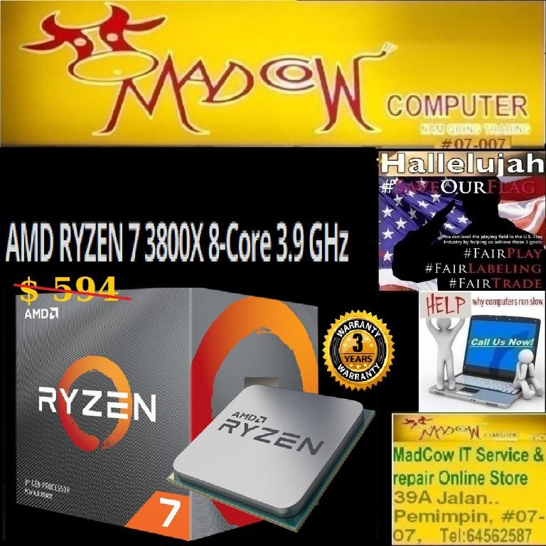 Amd Ryzen 7 3800x 8 Core 16 Thread 3 8ghz Unlocked Desktop Processor With Wraith Prism Led Cooler 3y Electronics Computer Parts Accessories On Carousell