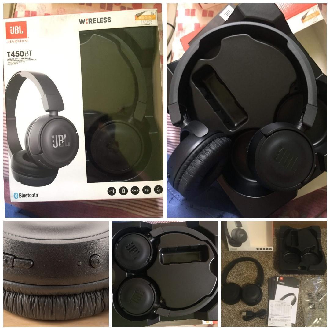 Jbl T450bt Wireless On Ear Headphones Black Electronics Audio On Carousell