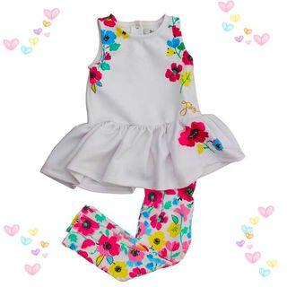 Juicy Couture Girls White Floral Tunic & Pink Leggings Set