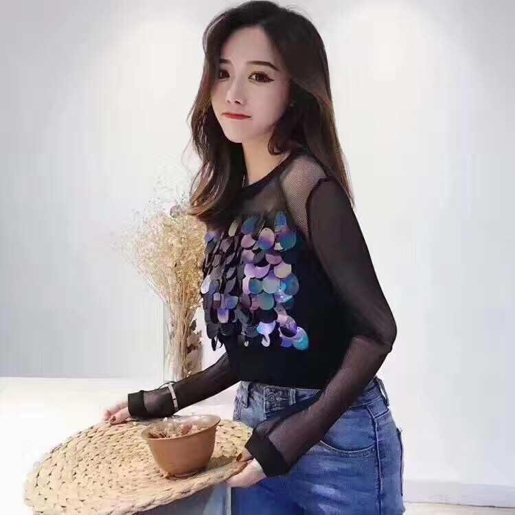 Long sleeve mesh top