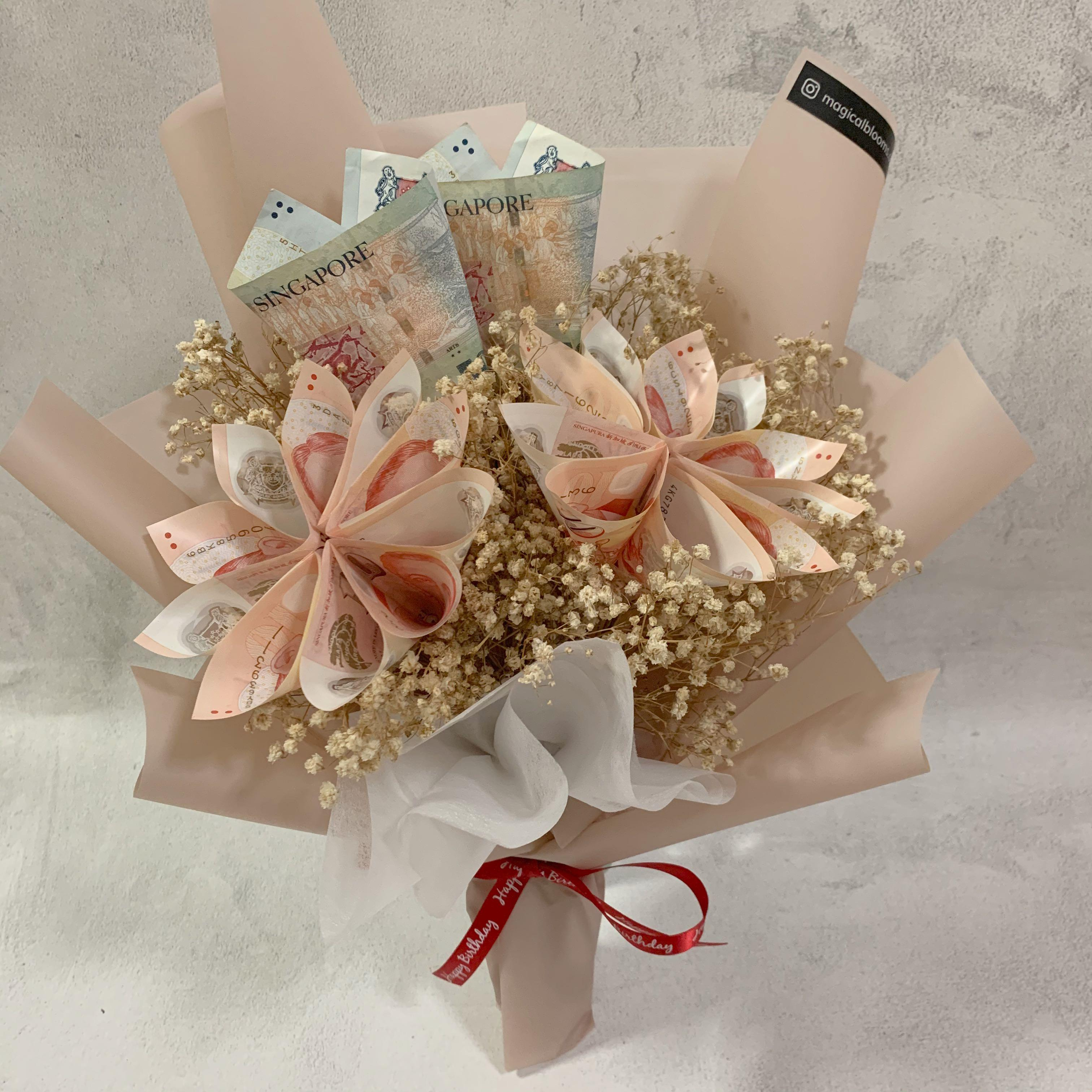 Money Bouquet With Dried Flowers Birthday Bouquet Gardening Flowers Bouquets On Carousell