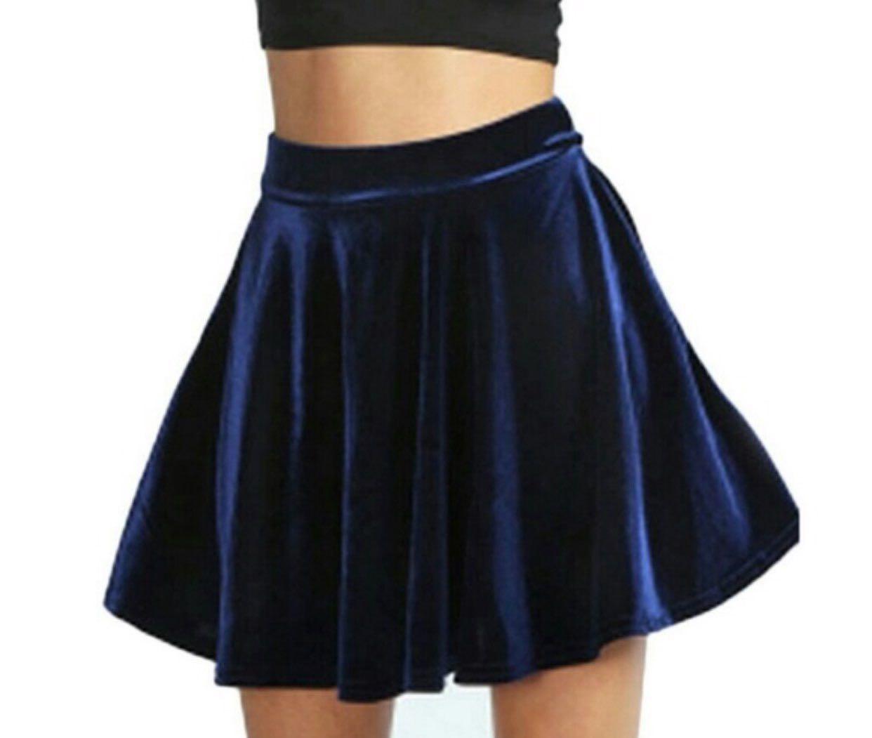 Navy Blue Velvet Skirt Women S Fashion Clothes Dresses Skirts On Carousell