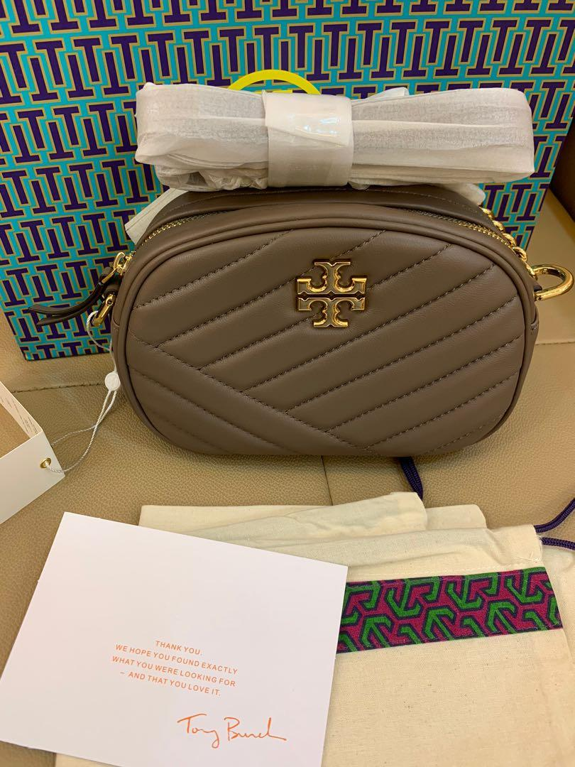 Ready Stock  Kira Authentic Tory Burch light taupe small camera bag lamb skin sling bag with chain