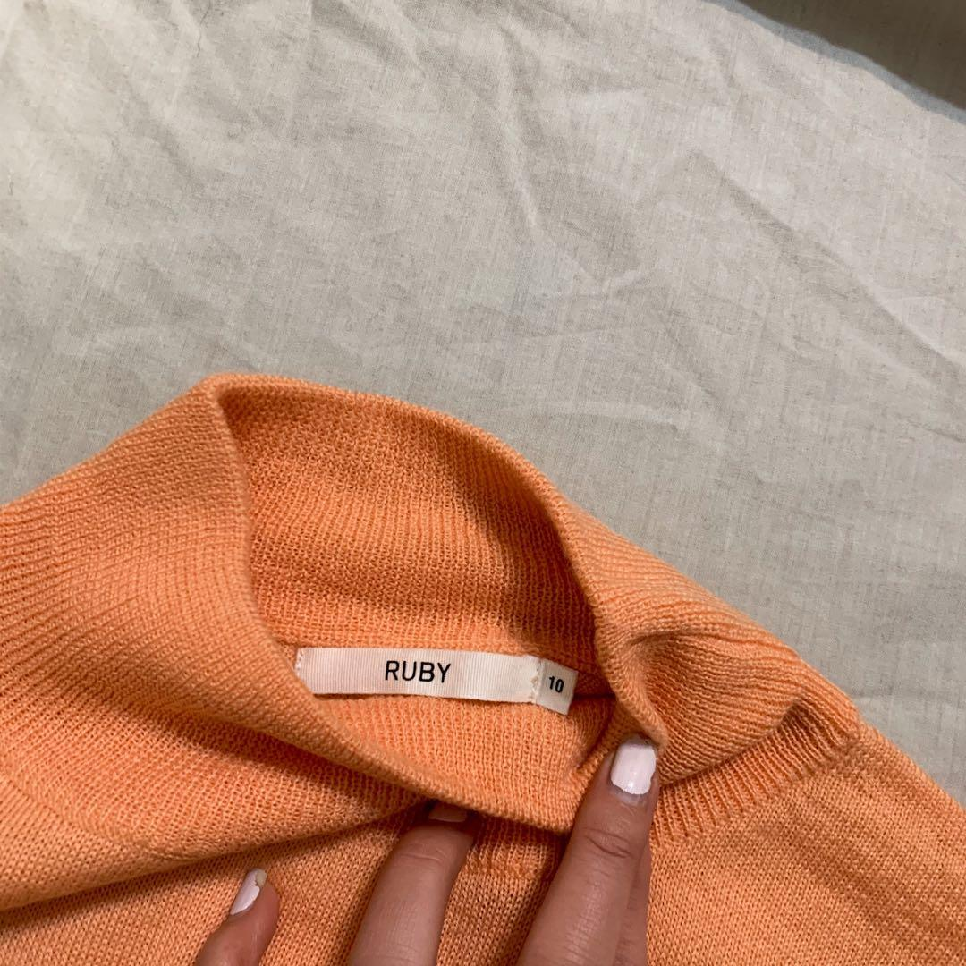 RUBY peach mock neck knit