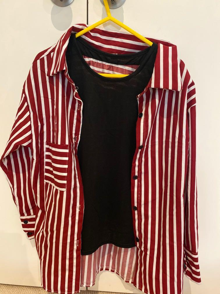 stripes layered look shirt