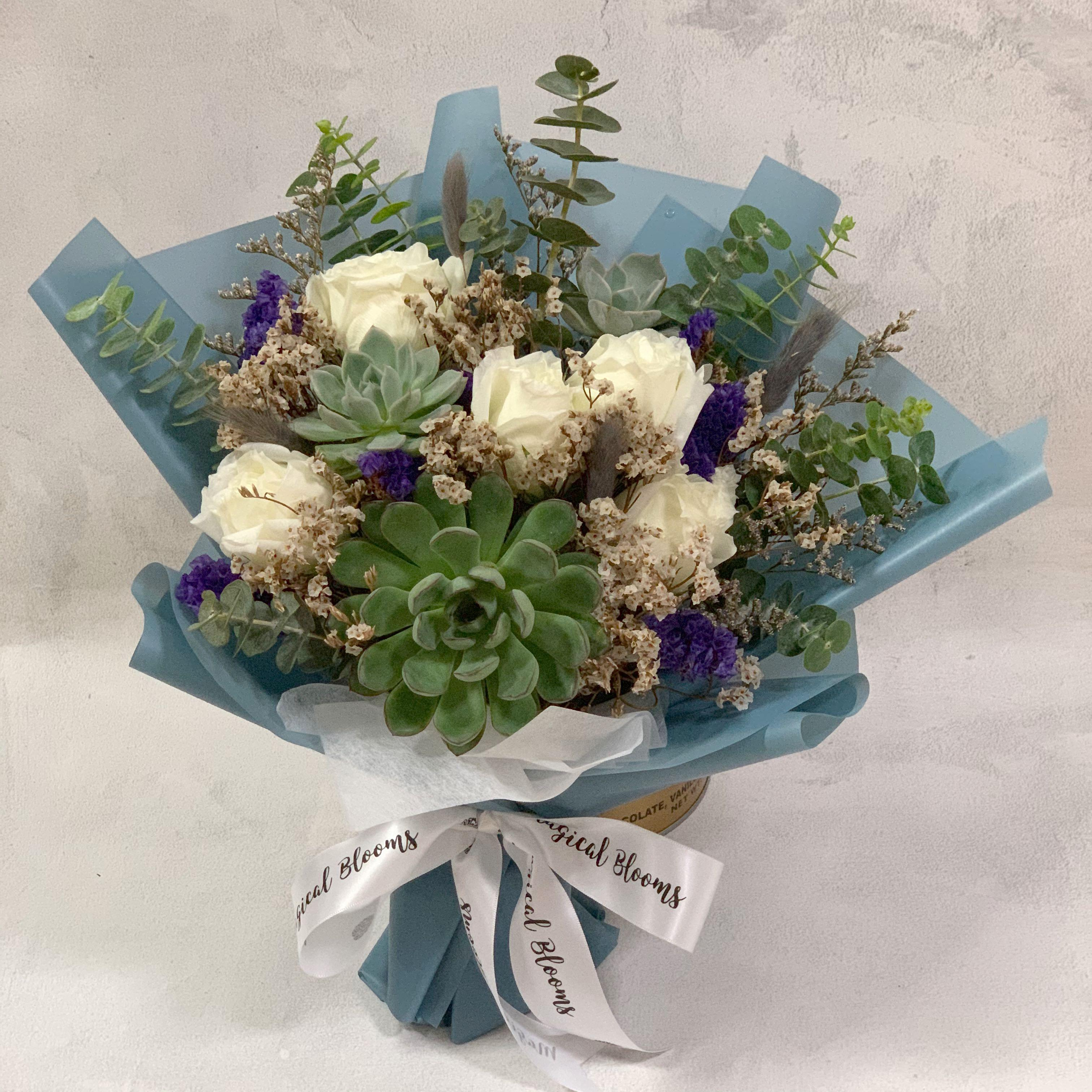 Succulent With White Roses Father S Day Birthday Bouquet Gardening Flowers Bouquets On Carousell