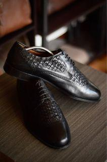 Apollo Woven Wingtip Derby Leather Shoes