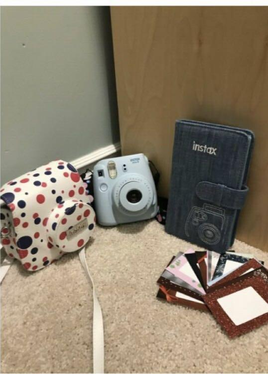 Blue Instamax Camera with accessories